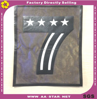 China factory sale 24.2X31cm digit design black leather patches for t shirt