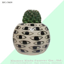 black and white succulent holder ceramic eye flower pot