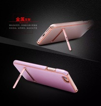 Newest Released Innovative High Quality Leather PU Case with Metal Phone Holder for iPhone 6/6s