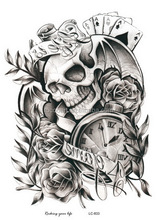 LC-833/New 2016 wholesale big coolest clock skeleton tattoo designs black tattoo sticker for men arm should large body tattoo