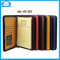 Multifunctional Business PU Leather Zipper A6 A5 B5 Organizer Notebook Journals With Calculator Soft Cover