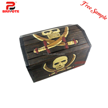 Pirate surprise wooden treasure chest craft gift boxes with lock