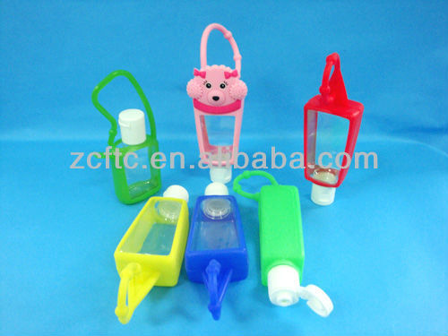 empty hand sanitizer bottle with silicon rubber case holders