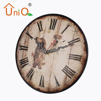M1206 round shape and good quality metal clock with cute dog picture