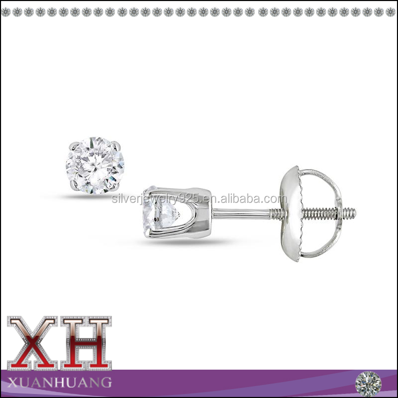 925 Sterling Silver 3M 4M 6M 7M White CZ Studs With Screw Back