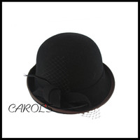 100% Australian wool felt hat wholesale hat with hand make flower cloche hat for lady church hat