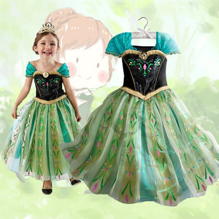 (Top Top) Fashion Anna Elsa Cos play Costume Princess Kid Girl Frozen Elsa Dress Party Formal Dress