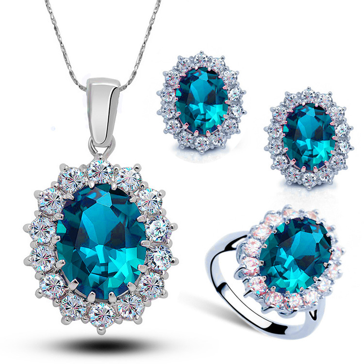 2019 New Arrival Women Multi Colors 925 Sterling Silver Crystal Blue Cubic Zircon Pendant Necklace Jewelry <strong>Sets</strong>