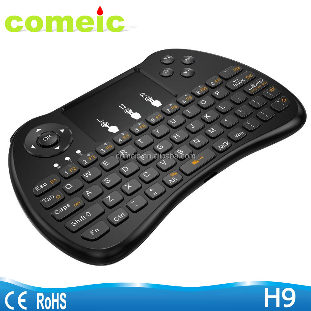 Mini qwerty keyboard with control kyes smart fly Air mouse H9 backlit keyboard