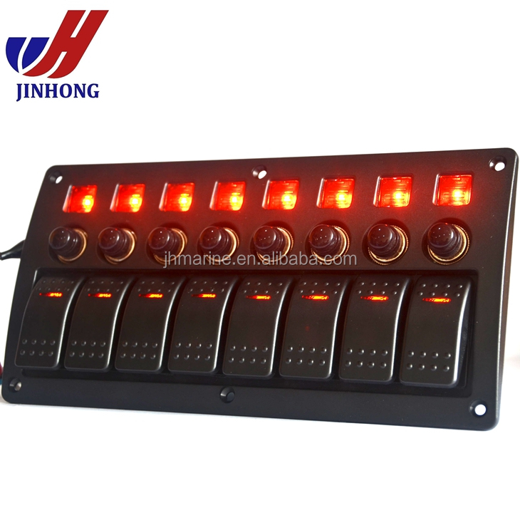 NEW 8 Gang Marine Boat Racing Rocker Switch Panel with RED LED