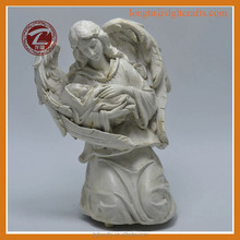 Resin Crafts White Angel with kids,Unique Angel Home Decorations Kneeling Angel