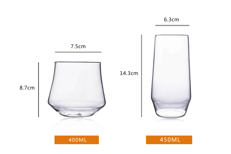 Factory 400ml glass milk fruit juice beer cup mug 450ml custom Logo drink glass cups