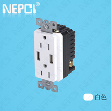 USB wall socket American US CANADA standard socket 2 gang electrical outlet with 2 USB ports US socket with usb