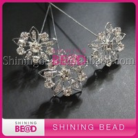 flower shape wedding bouquet crystal brooches with stick for bridal flower decoration