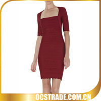 2014 new arrival short sleeve elegant bandage sexy red low cut dress