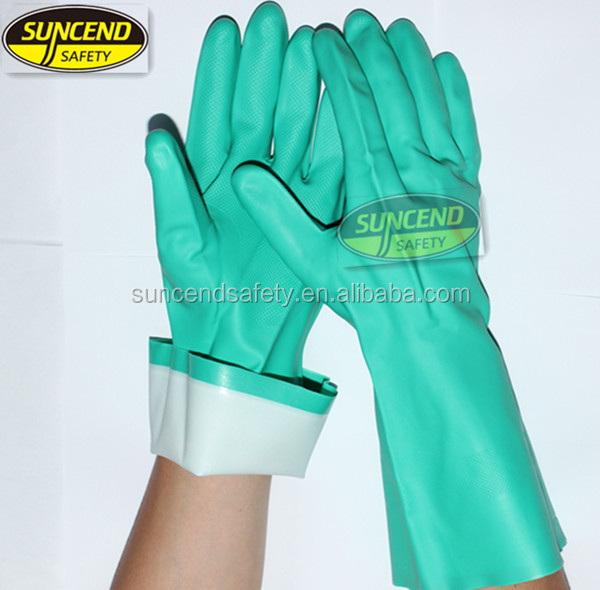 Chemical resistant green nitrile flocklined long cuff industrial gloves