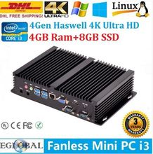 Fanless mini pc embedded computer Core i5 4200Y 300M Wifi VGA+H DMI windows10 best gaming pc
