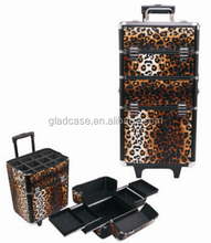 Luxury professional makeup trolley Case with aluminum slide trays and trolley