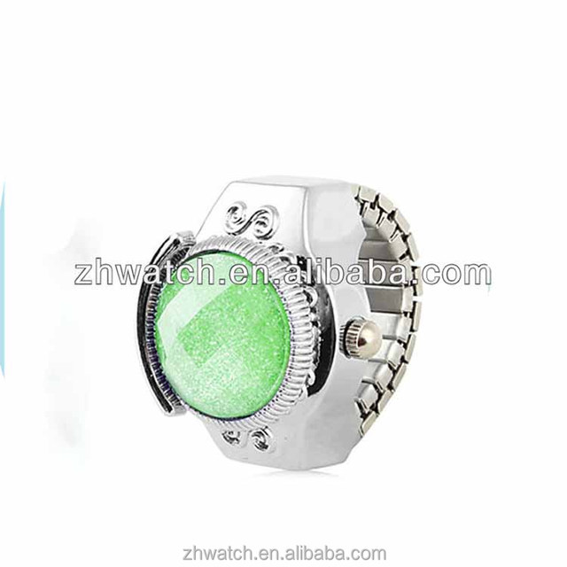 wholesale crystal ring watch half circle alloy watch case beautiful finger rings watch