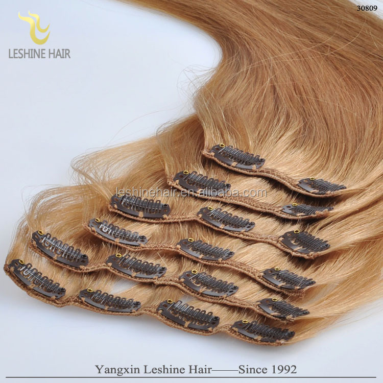 Top Quality And Lowest Price Full Cuticle 30 inch human hair extensions clip in