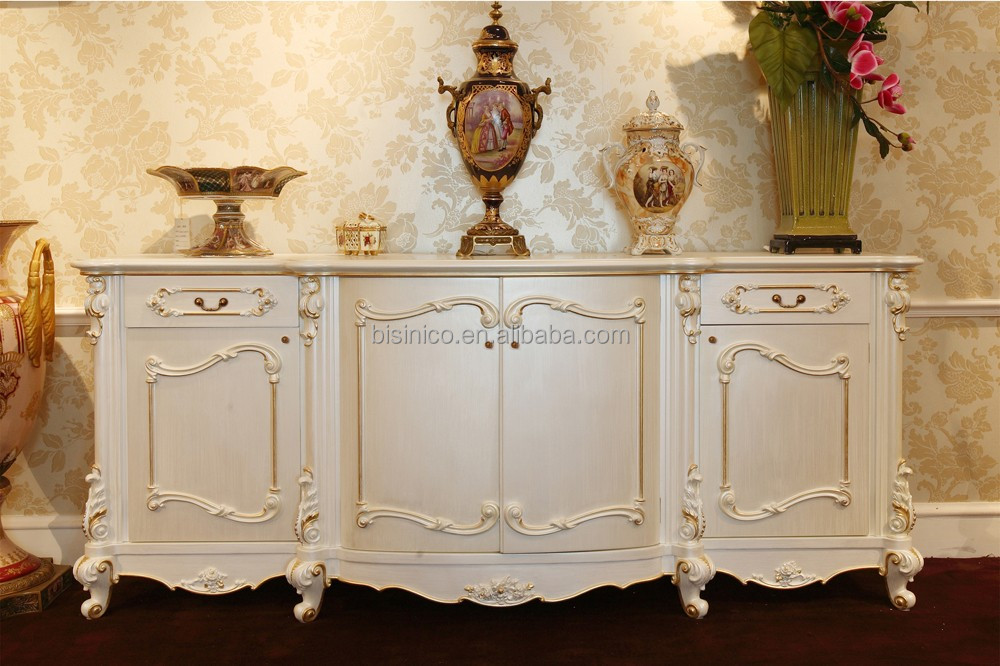 French Classic Elegant Sideboard Cabinet/ Antique 4-door Wooden Gorgeous Carving Cupboard Buffet/ Dining Room Storage Cabinet