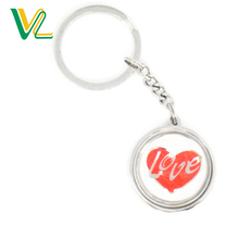 OEM Design hot sales Metal Heart Nickel O Ring Souvenir Key Chain for girl