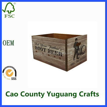 cheap wood fruit crates ,Wooden Crate Rustic Finish,Flamed wooden crates