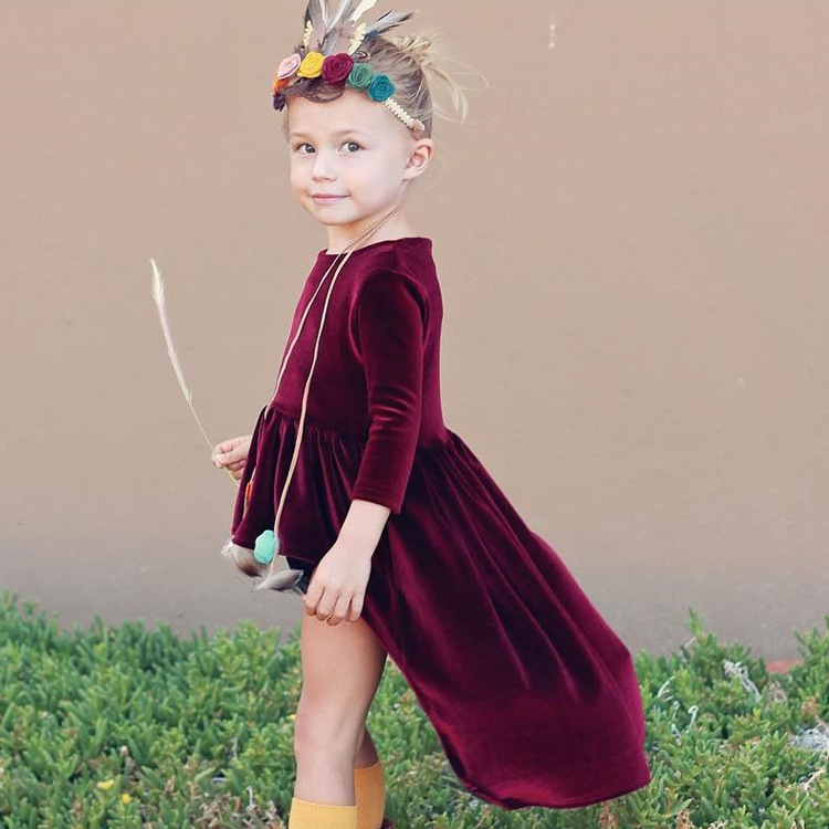 European Fashion Kids Autumn Clothing 2017 Baby Girl Wine Red Pleuche Burgundy Dress For 1-4Years