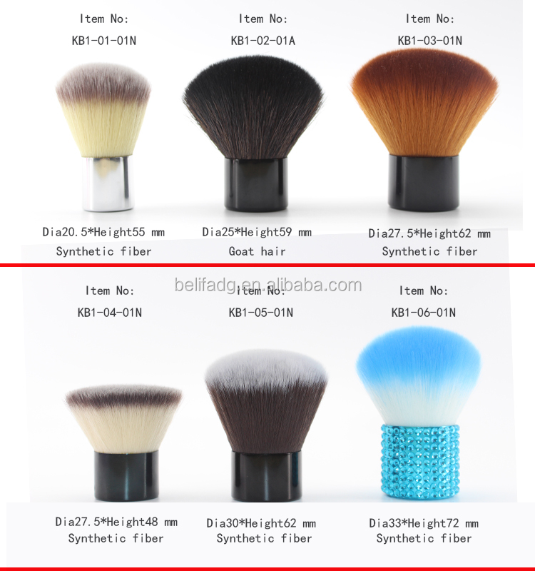 metal handle nylon round top kabuki brush in makeup brushes