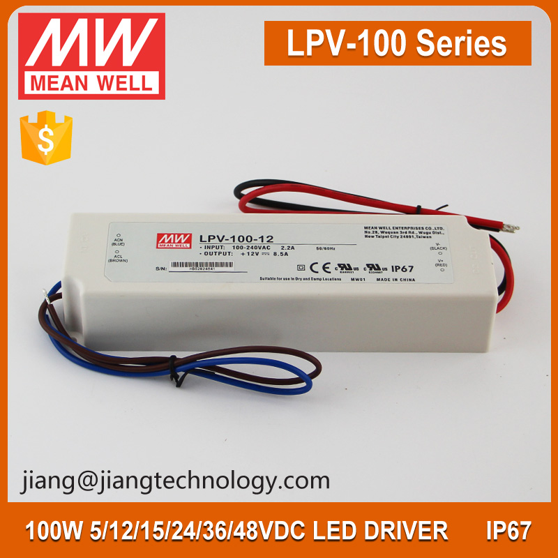 Meanwell LED Driver 12V 100W Power Supply LPV-100-12 Plastic Case IP67 Waterproof