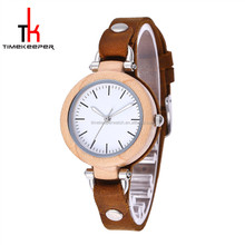 2017 Luxury women watch maple wood case genuinle leather strap quartz wood watch beautiful design lady watches