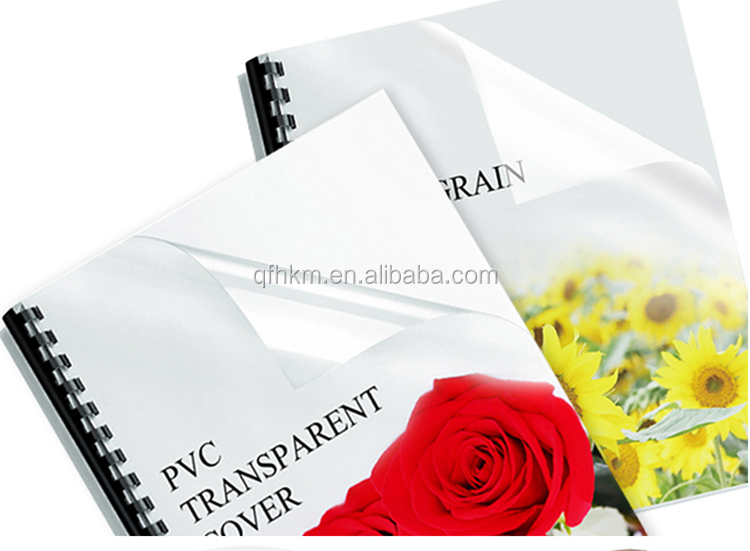 Transparent Red/Yellow/Blue/Green/Smoky Gray/Maroon/Clear Colorful 0.1-0.6mm Thickness A4 A3 Clear PVC Book Binding Cover