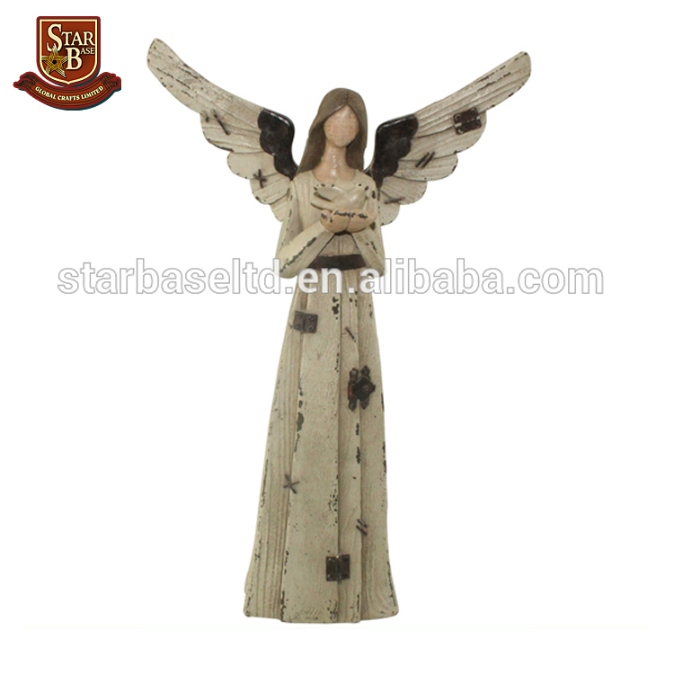 Wholesale female garden statues polyresin angel figurines with wooden finish