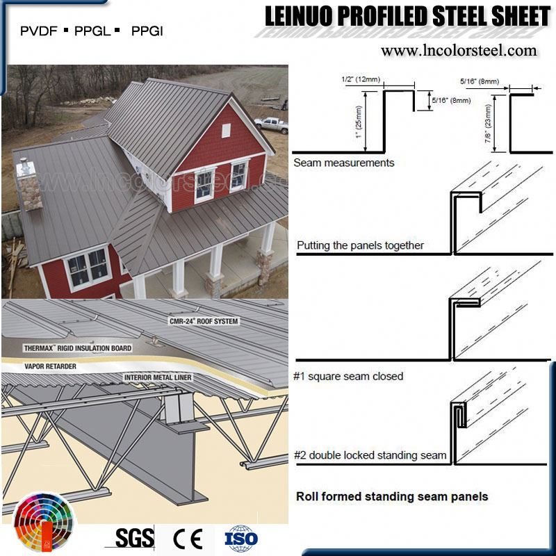 High Quality CE Certificate long span standing seam metal roofing panels from China