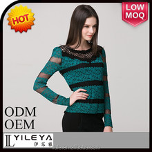wrap design lace top sexy long sleeve winter blouse for ladies