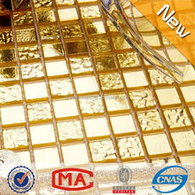 HW01-HW02 Luxury golden foil glass mosaic tiles Sparking wall covering Dubai hotel decorate mosaic