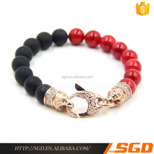 2016 rose gold gemstone bead bracelet 316l stainless steel jewelry