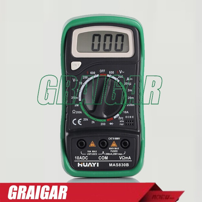 MAS830B LCD Display AC/DC Ammeter Voltmeter Ohm Electrical Tester Meter Professional Digital Multimeter