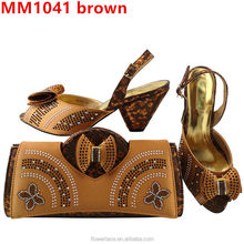 2017 Fashion African Italian Shoes With Matching Bags For Wedding / Brown High Heel Women Shoes And Bags To Match Set