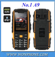 "NO.1 A9 Rugged Waterproof Shockproof Cellphone 2.4"" 4800mAh Dual SIM 3.0MP 2.4 Inch 240*240 Rugged Phone"