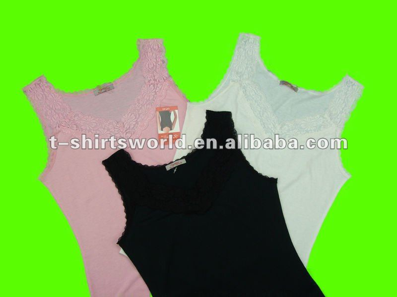 CHEAP stock lot WOMEN'S singlet/vest with lace decoration