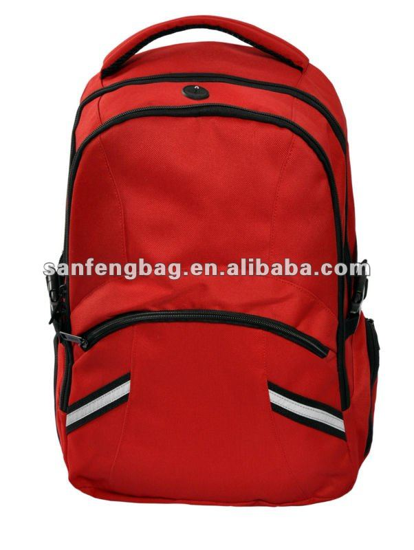 red reflective camping backpack