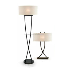 European style black painting steel floor lamp with linen cover