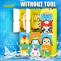 2015 new cartoon portable assemble foldable cheap plastic wardrobe with 12 cubes