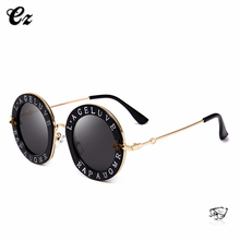 2018 most fashion custom italy round lens womens sunglasses with words