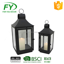 Black metal glass candle holder hurricane lantern with glass panels ML-2155 set of 2