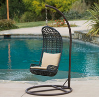 Unique style high back outdoor swimming pool hanging furniture patio wicker swing chair