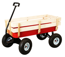 Radio Flyer Style All Terrain Kids Wagon with wooden sides Metal Kids Cart True Value Factory China