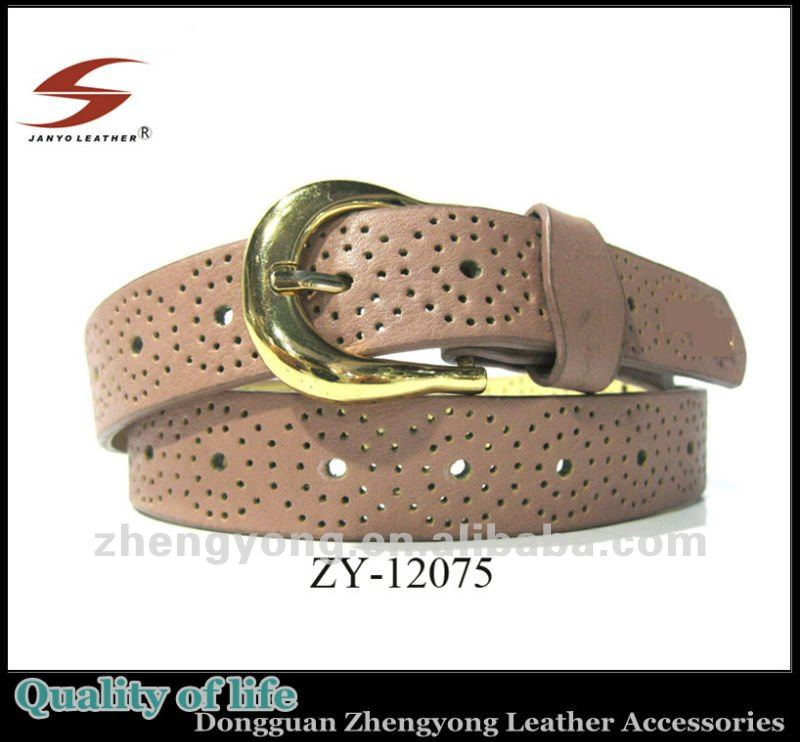 Light red tough perforated belt with hole punch