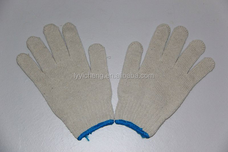 7/10 gauge white knitted cotton gloves manufacturer in china/hawk gloves